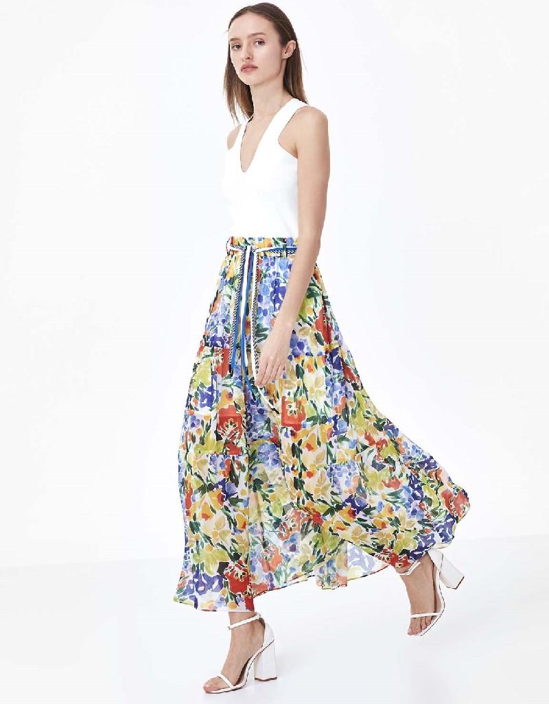 Off White Flower pattern skirt