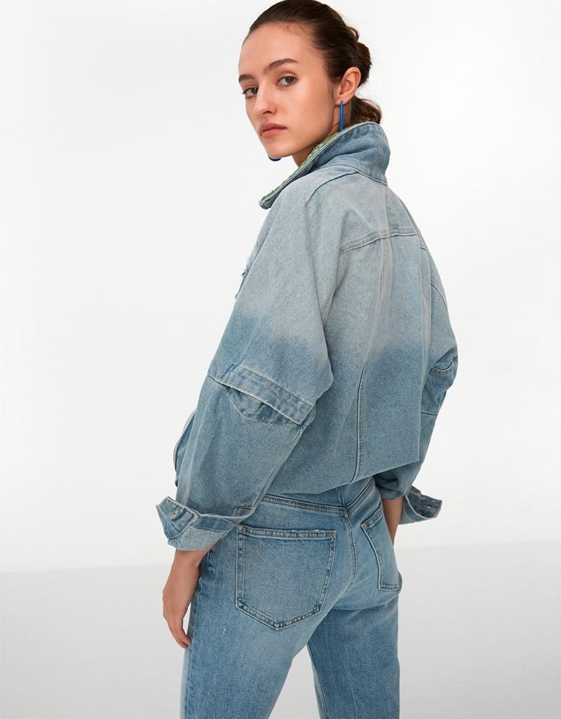Blue Woven Mix Denim Jacket