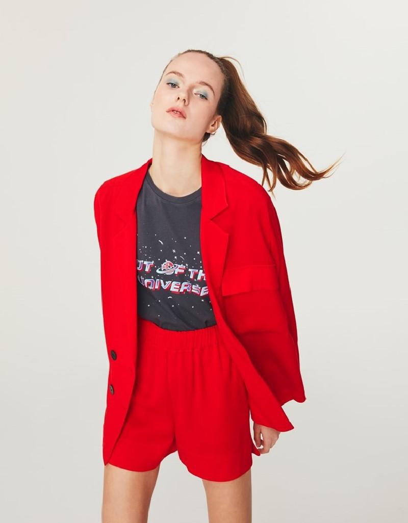 Red Contrast Button-Up Blazer