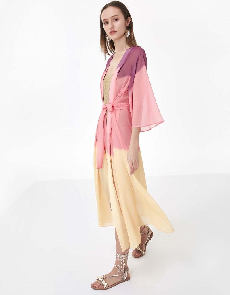 Pink Transparent form belted jacket