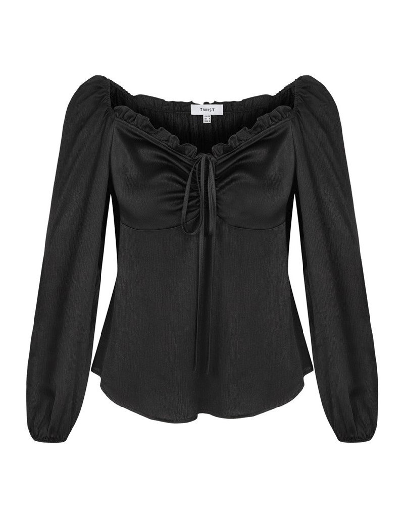 Black Blouse With Frilled Line