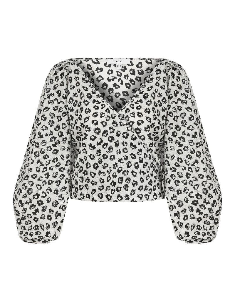 Black Leopard print wrap blouse
