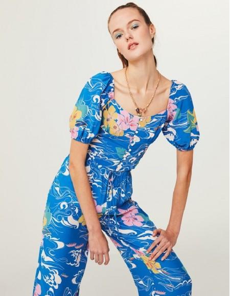 Blue Floral Print Crop Blouse
