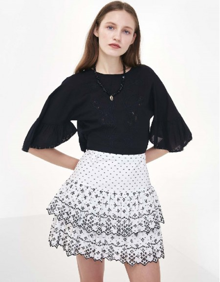 Black Flower embroidery crop blouse