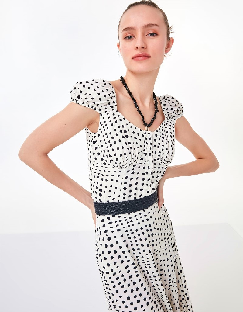 Off White Polka Dotted Blouse