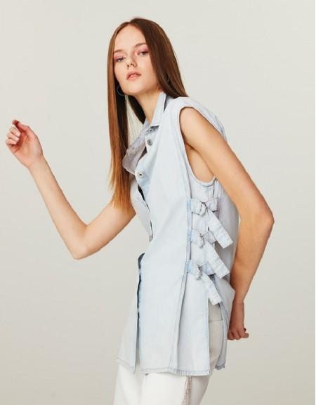 Blue Denim Look Vest