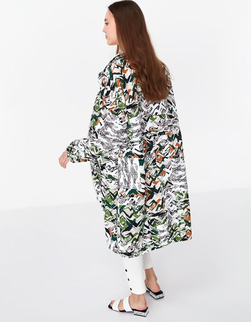 Khaki Patterned Top Coat