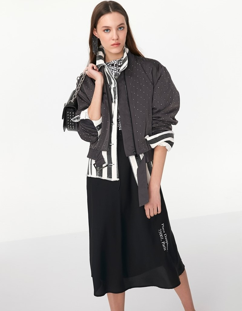 Anthracite Stone Printed Bomber Jacket