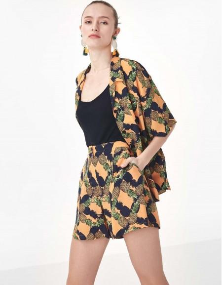 Orange Pineapple Patterned Shorts
