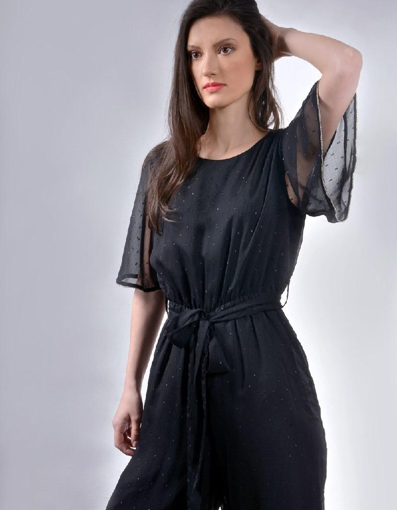 Black Ruffled bottom jumpsuit