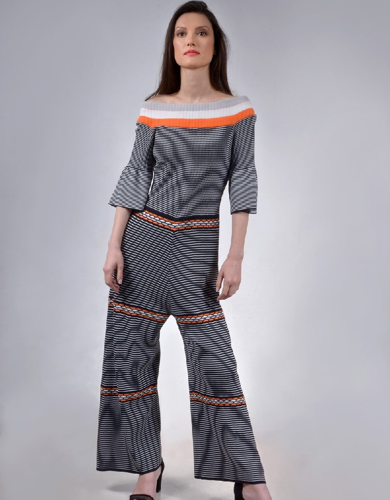 Black Linear knitted jumpsuit