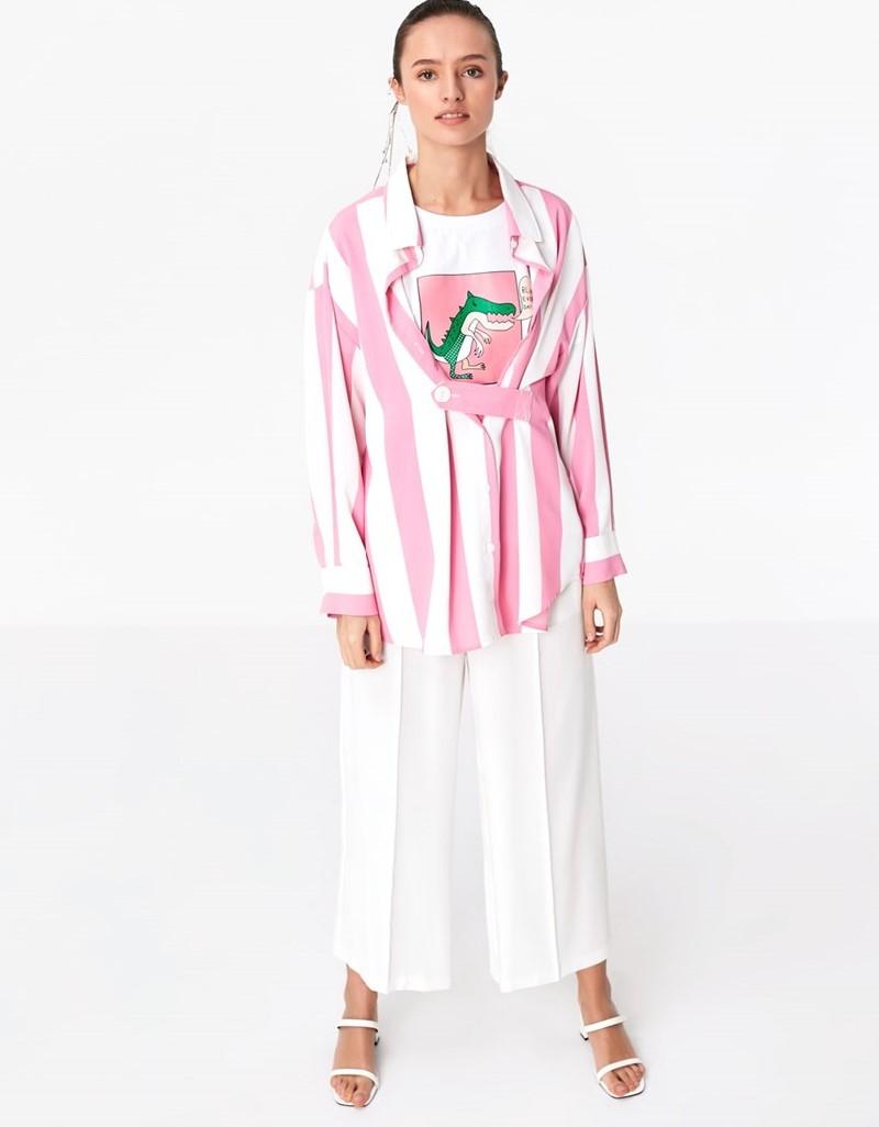 Pink Shirt With Belt Strap