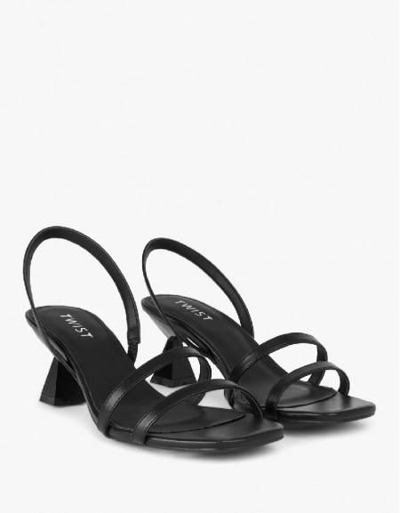 Black Thin Straps Heeled Sandals
