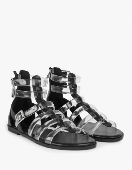 Black Transparent Strappy Sandals