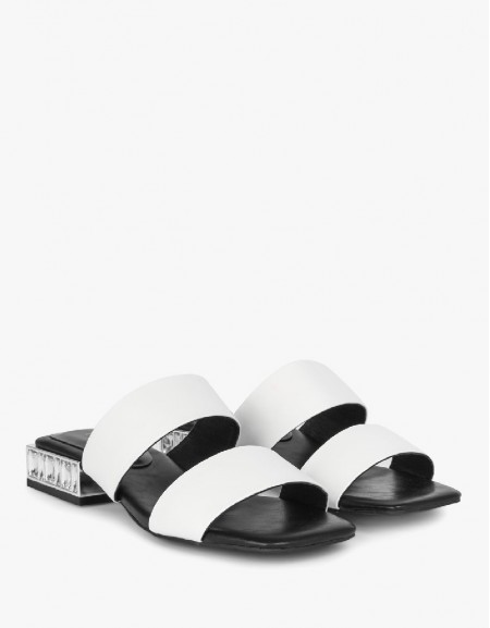 White Double Strap Slippers