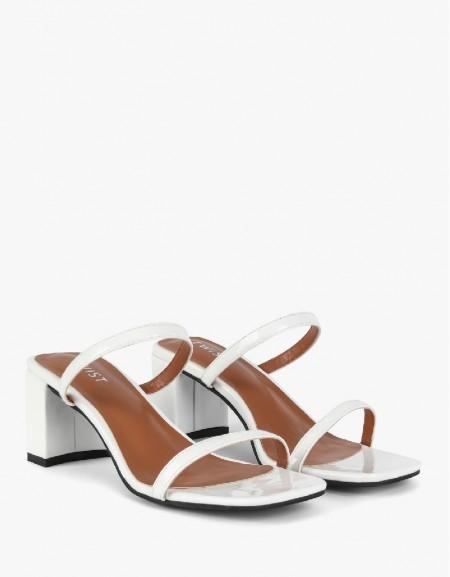 White Thin Strap Slippers
