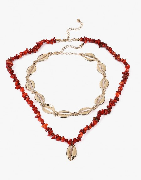 Red Seashell Lined Necklace