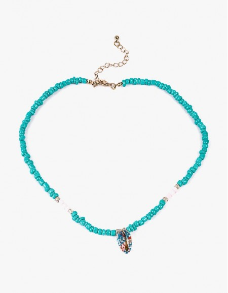 Blue Bead Lined Necklace