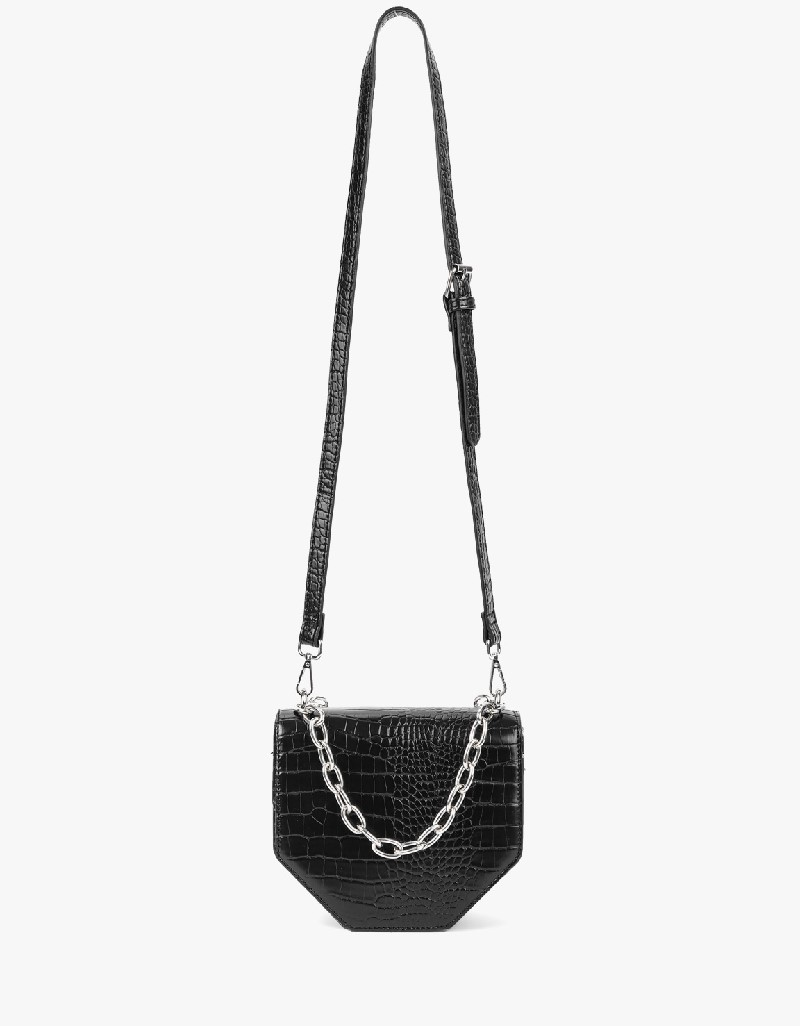 Black Rhinestone Printed Shoulder Bag