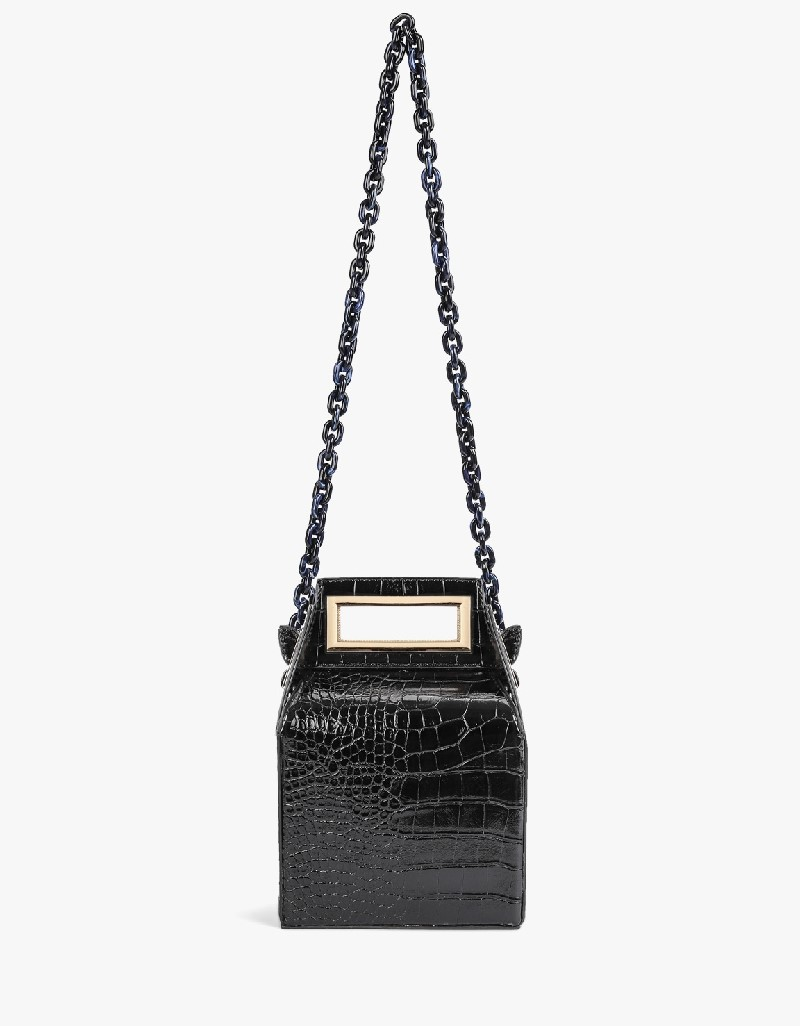 Black Imbricated Chain Shoulder Bag