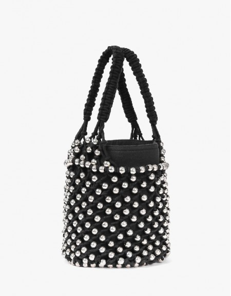 Black Macrame Bead Knitted Bag