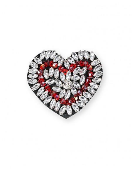 Silver Heart Form Brooch