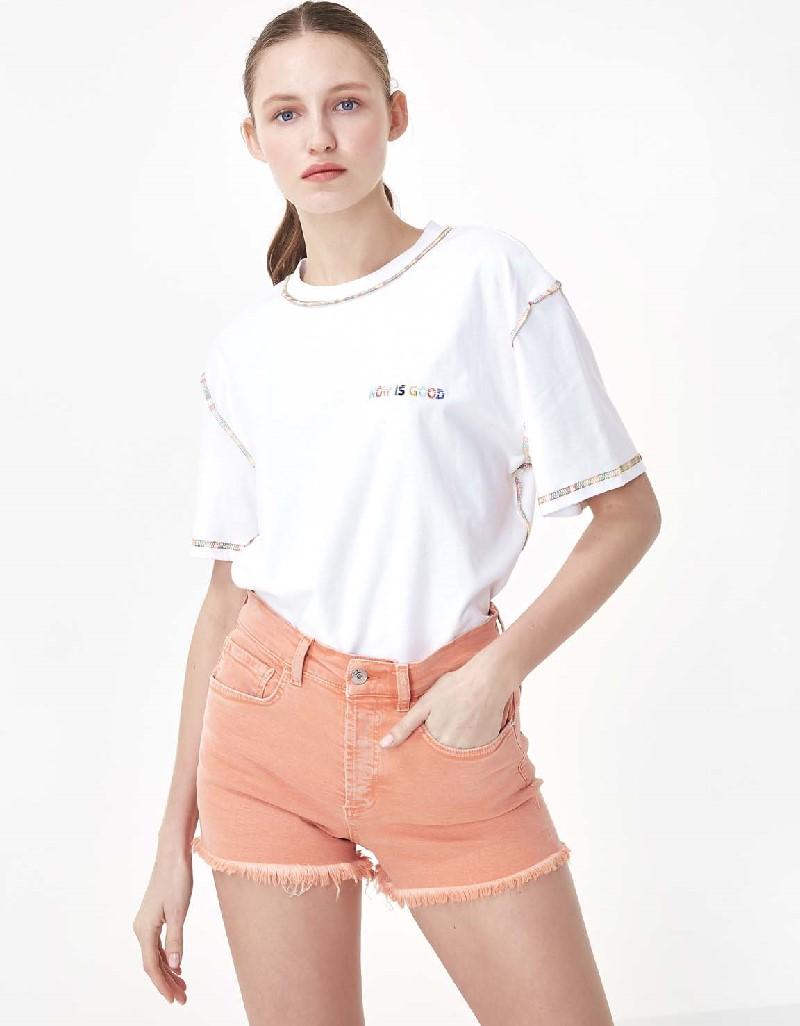 White Slogan embroidered t-shirt