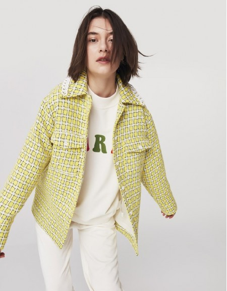 Yellow Tweed Shirt Jacket