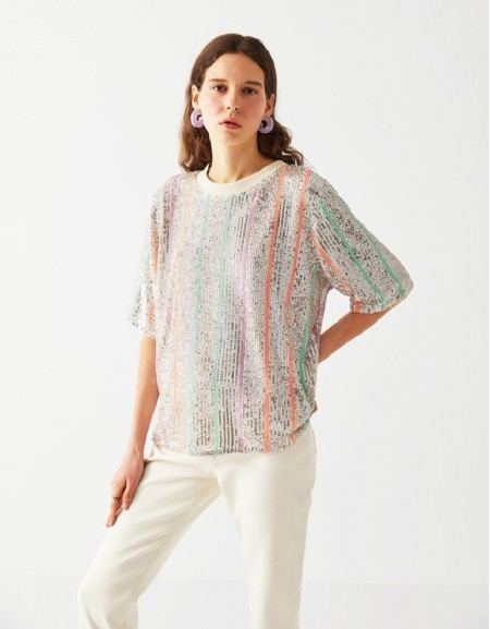 Silver Blouse With Sequin