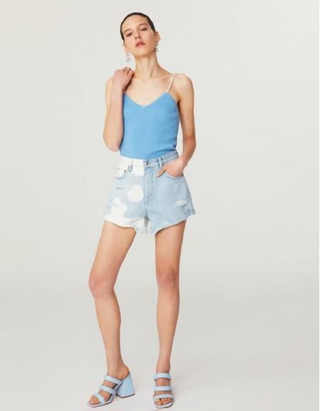 Blue Tumbled Jean Shorts