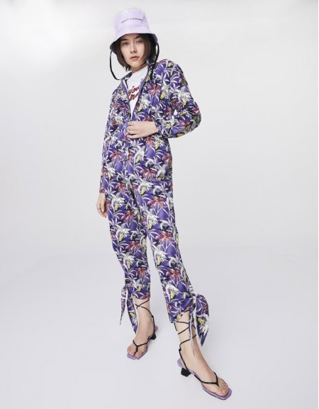Purple Patterned Overalls