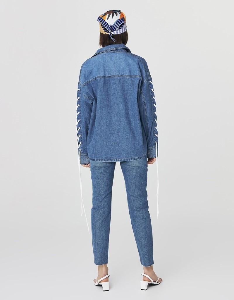 Blue Tie Detail Jean Shirt