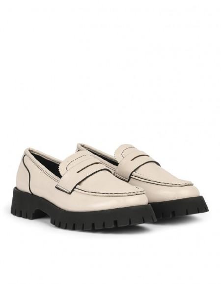 Cream Flat Shoes