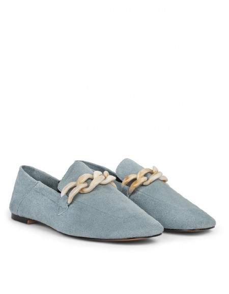 Blue Chain Buckle Suede Shoes