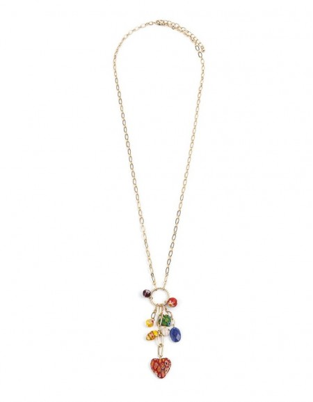 Rainbow Beaded Chain Necklace