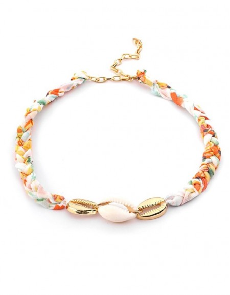 White Knitted Necklace With Seashell Pendant