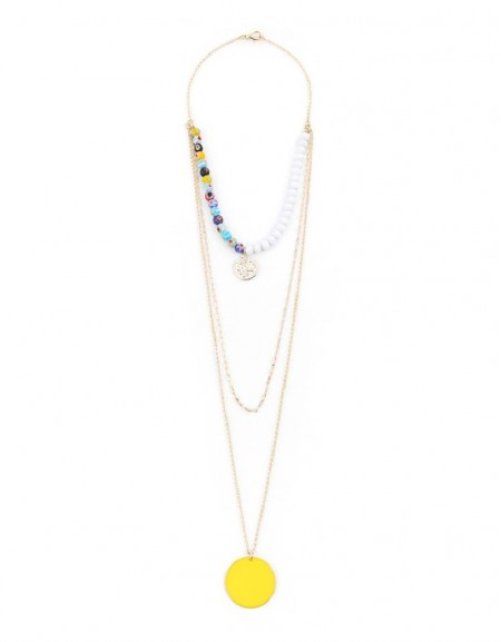 Rainbow Long Necklace With Bead String Detail
