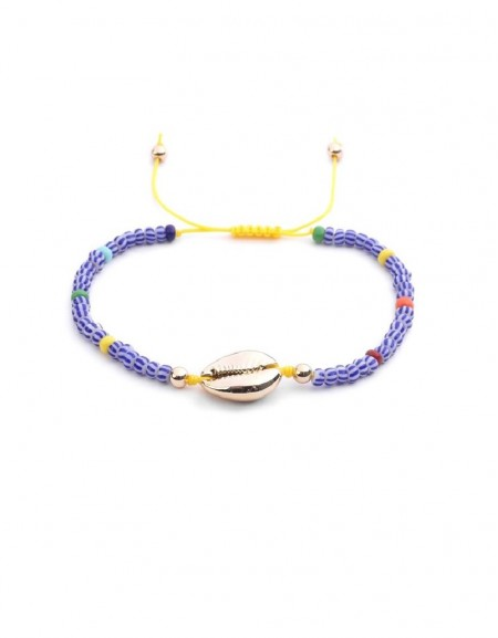 Rainbow Bead Anklets With Seashell Details