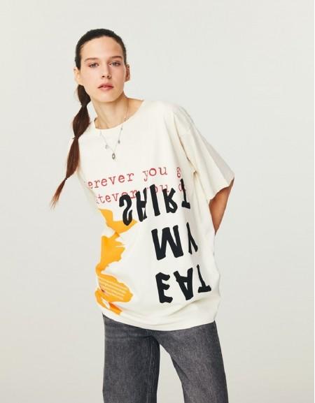 Cream Oversized T-Shirt With Slogan Print