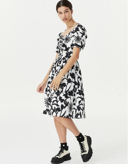 White Flower Pattern Dress
