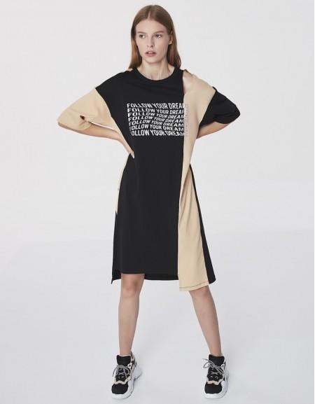 Black Slogan Printed Sweat Dress