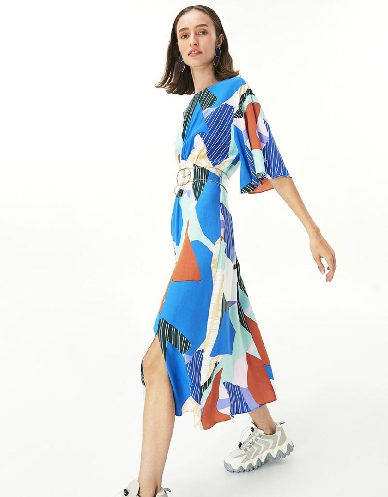 Blue Pattern Transition Dress