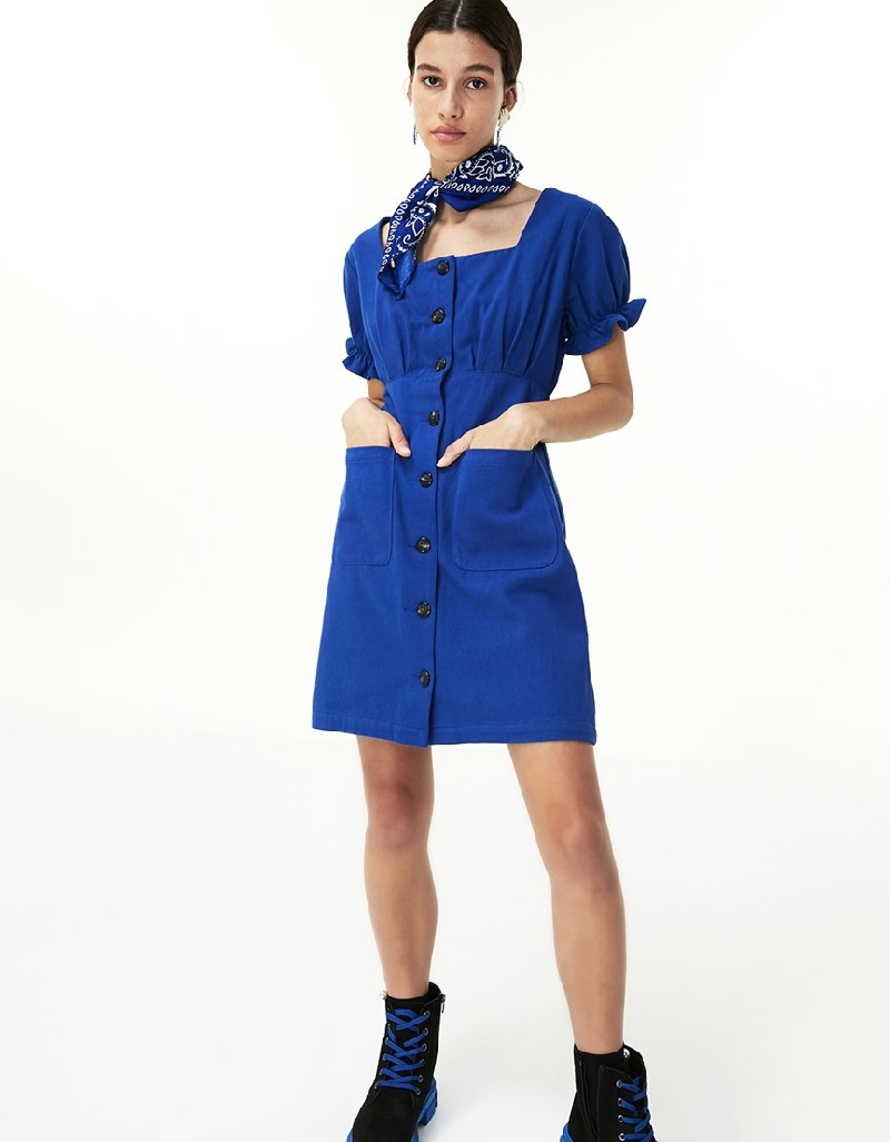 Blue Button Closure Dress