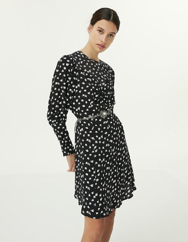 Black Flower Pattern Dress