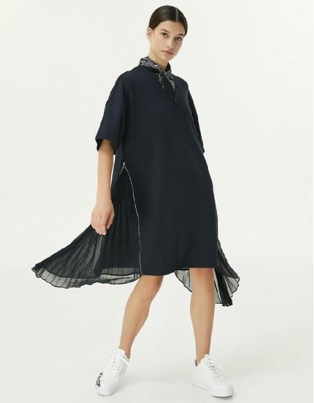 Navy Fabric Mix Dress