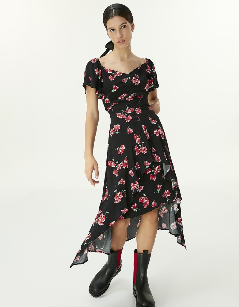 Black Flower Pattern Dress