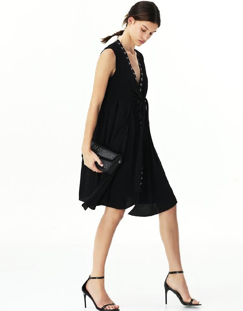 Black Agraph Striped Dress
