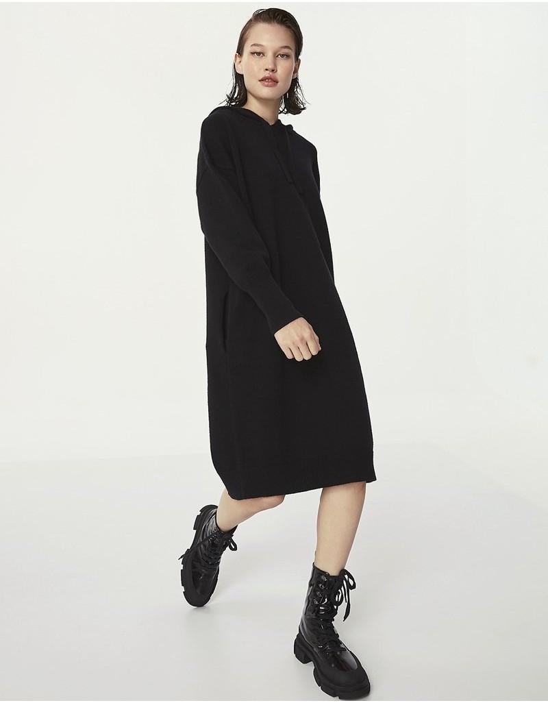 Black Hooded Sweat Dress