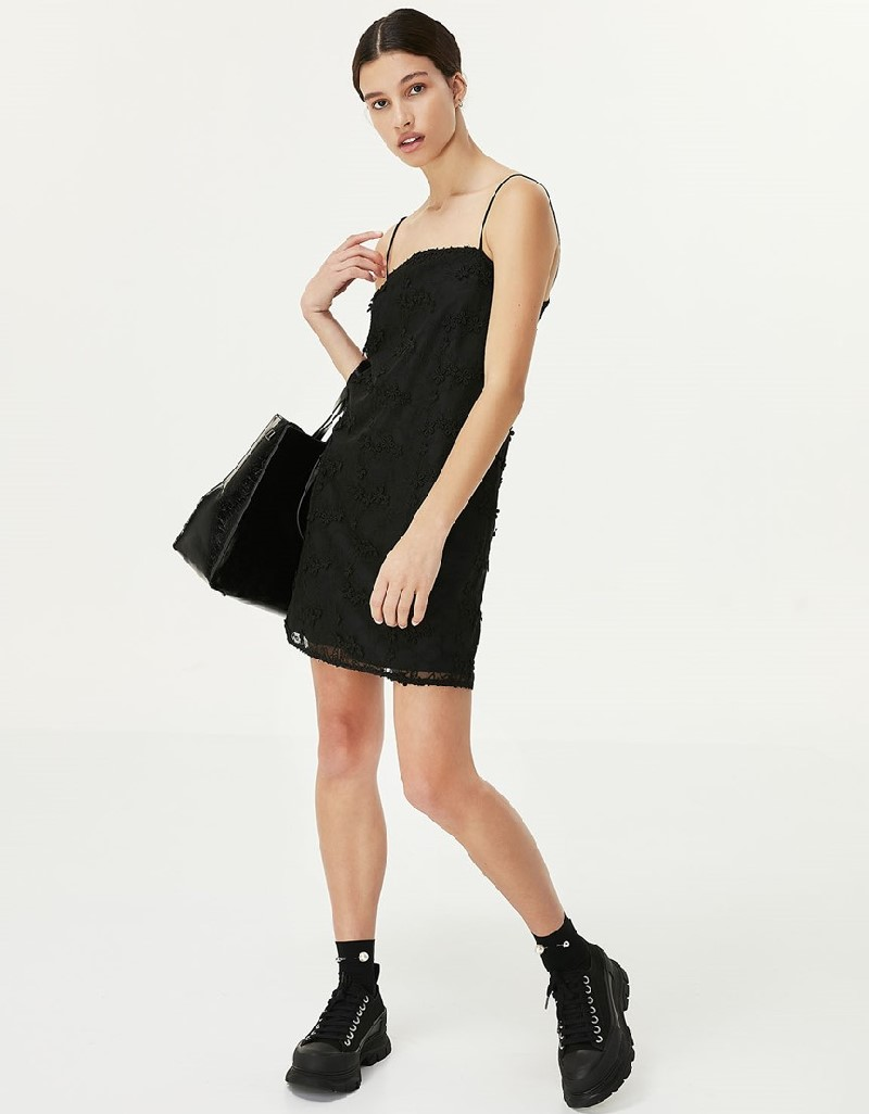 Black Thin Strapped Guipure Dress