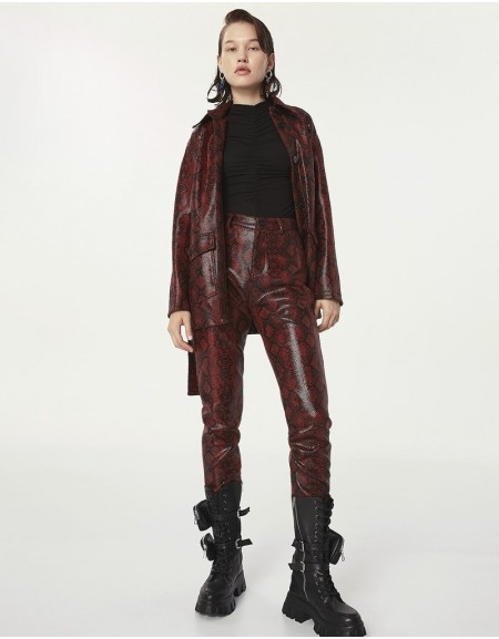 Purple Leather Form Pants
